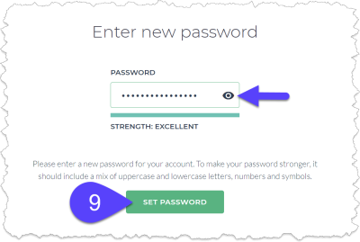 Setting your password.